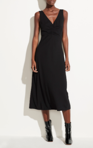 Ruched VNeck Dress - ami boutique