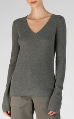 Cashmere V Neck - Heather Army