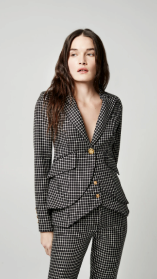 One Button Blazer - Black Grid