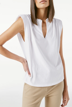 Padded Shoulder V-Neck
