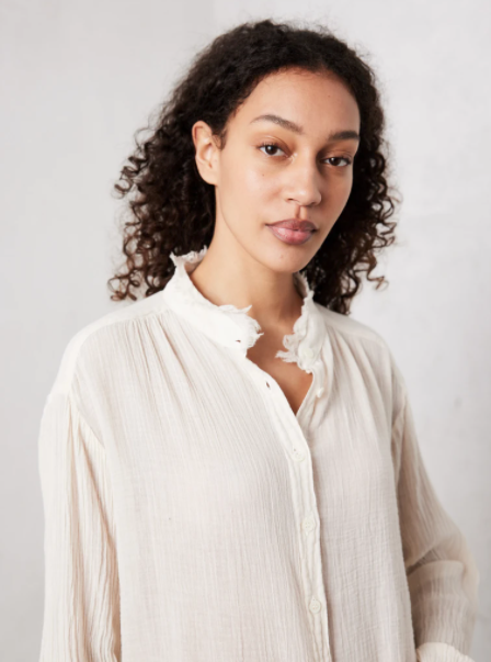 Shirred Blouse - Dirty Wht
