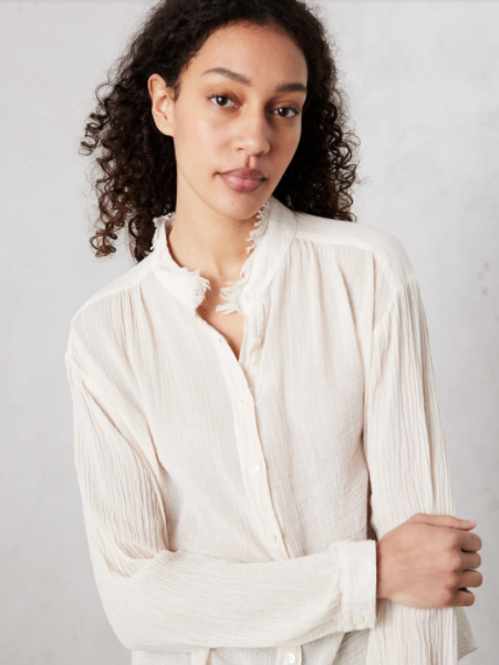 Shirred Blouse - Dirty Wht - ami boutique