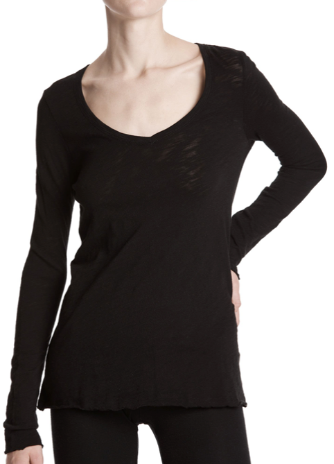 LS VNeck Slub - Black - ami boutique