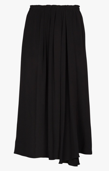 Flowing Midi Skirt-Blk