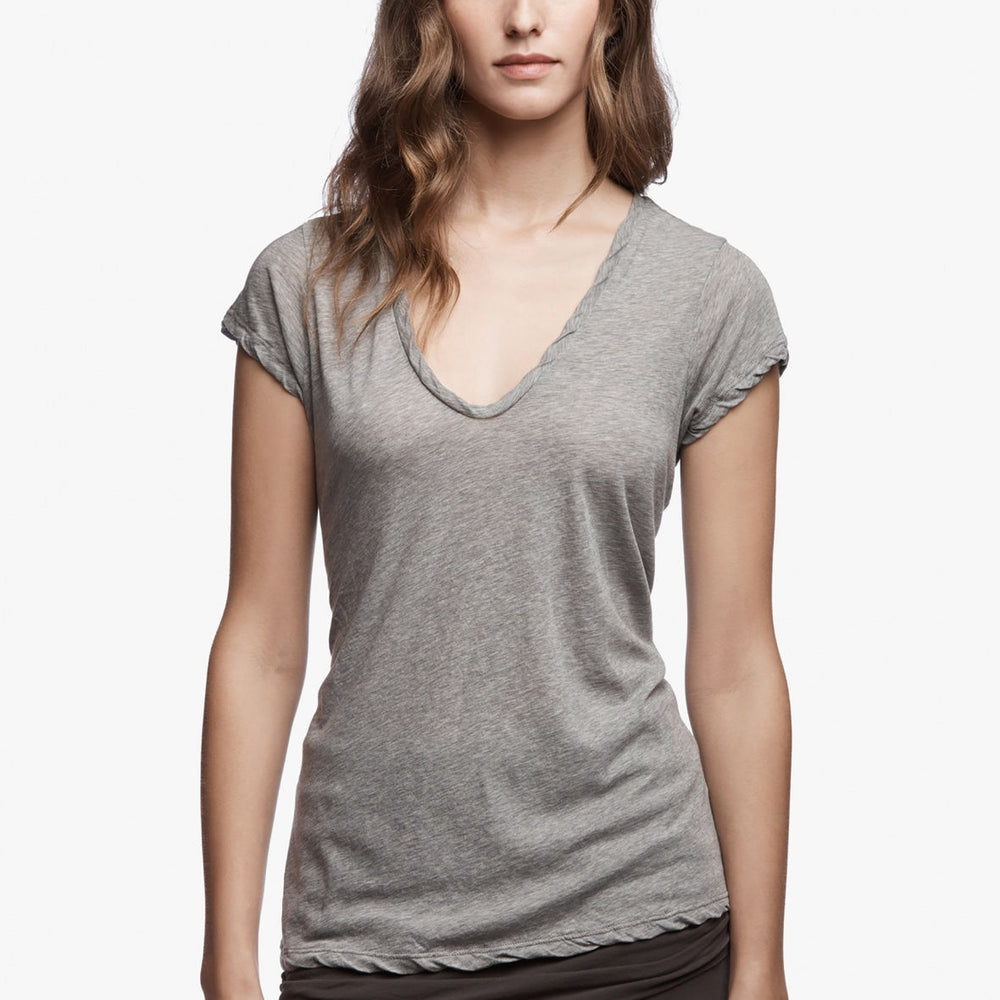 Deep V Tee - Heather Grey