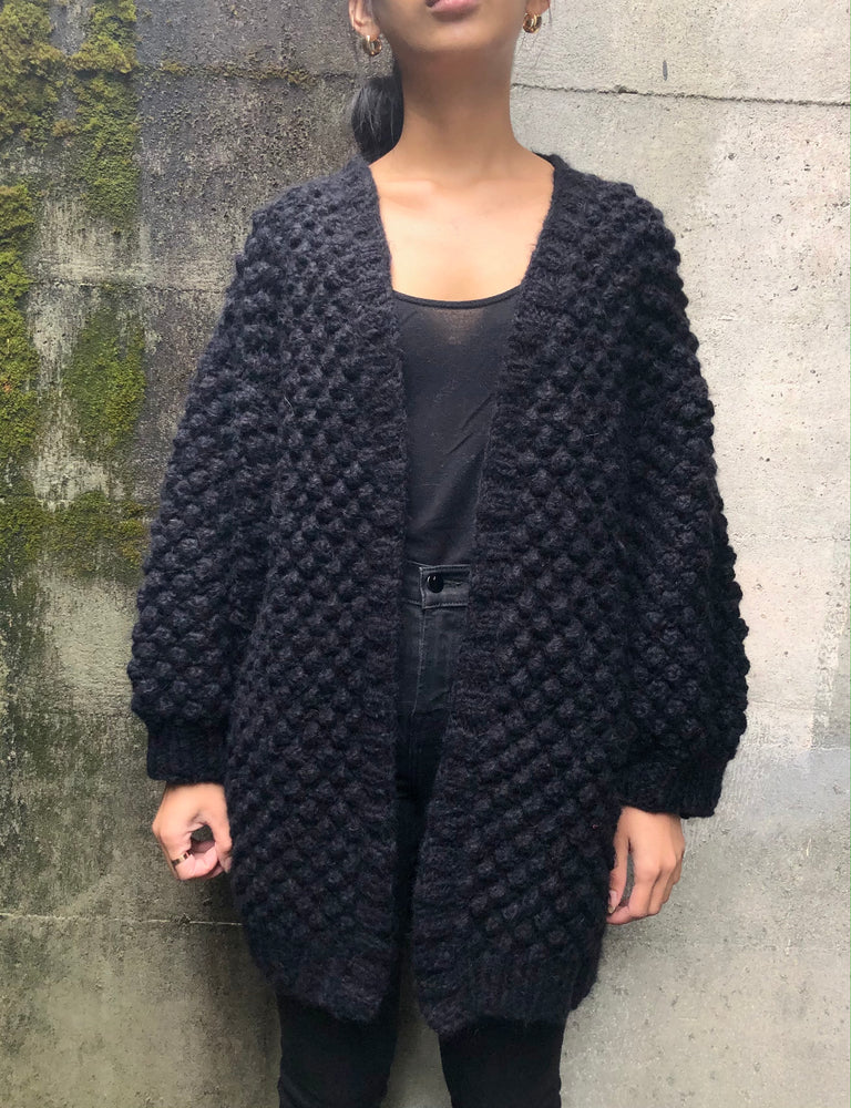 Bobble Cardi - Black Mohair - ami boutique