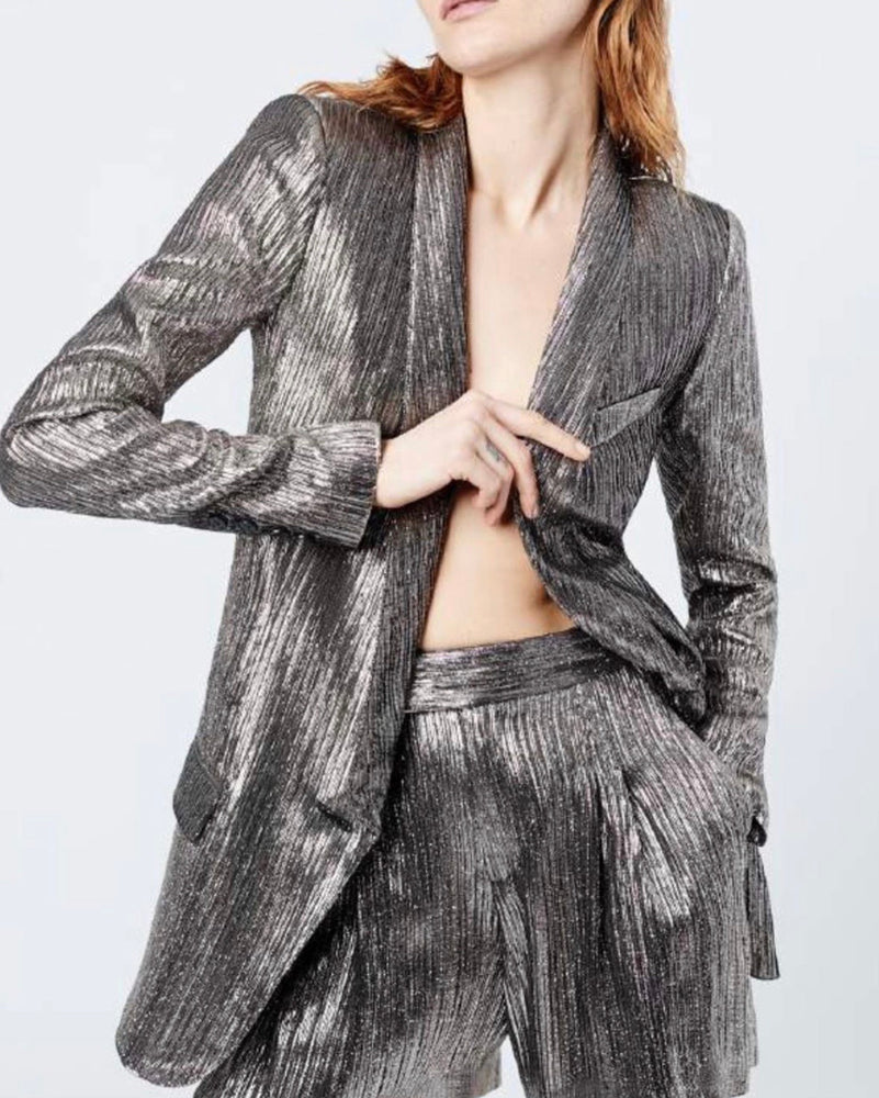 Pewter Long Shawl Blazer