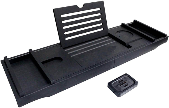 Luxury Polished Black, Extendable Bath Board with FREE Bath Pillow and Body Brush