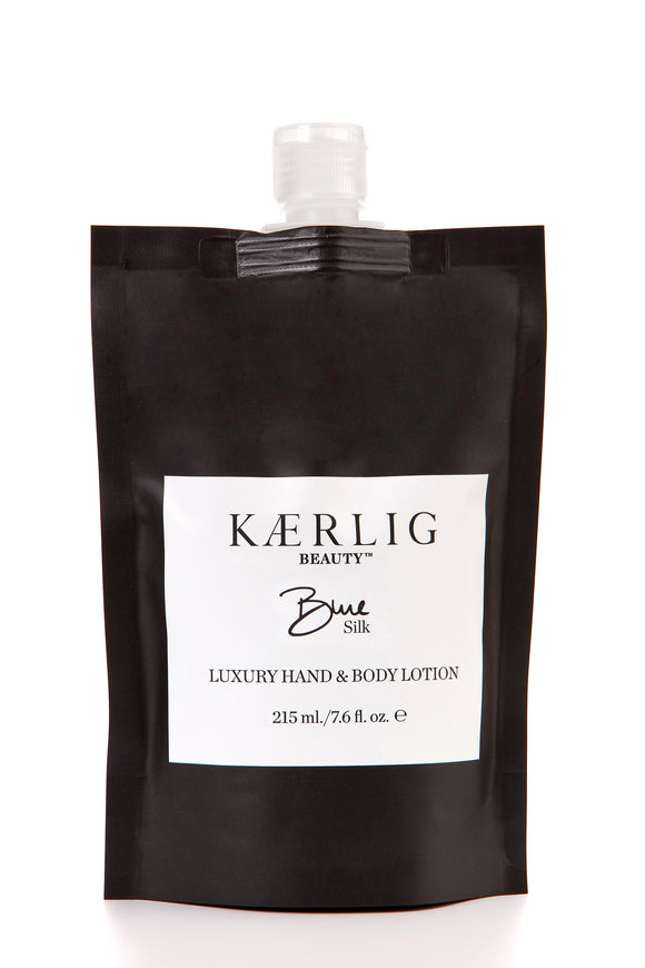 Refill Pouch of Blue Silk Luxury Hand and Body Lotion