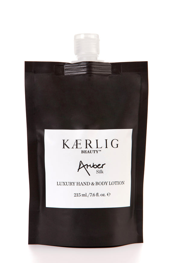 Refill Pouch of Amber Silk Luxury Hand and Body Lotion