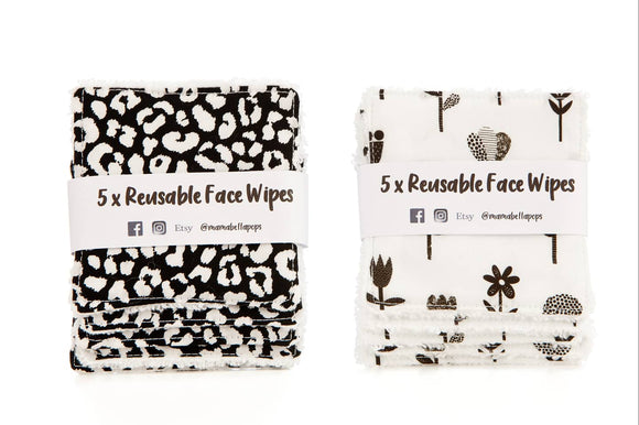 Pack of 5 Reusable Face Wipes