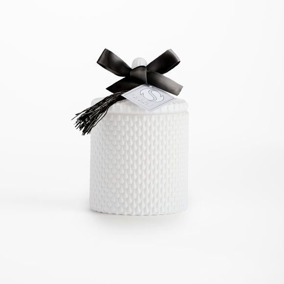 White Glass Luxury Candle - Classic Strawberry and Rhubarb