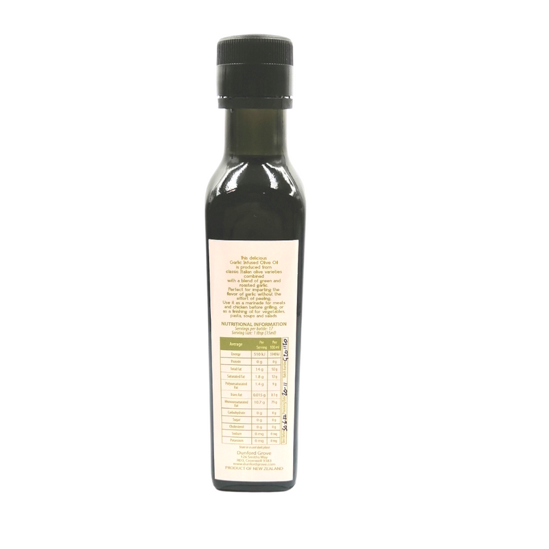 Back of Dunford Grove garlic infused olive oil 250ml
