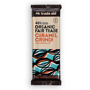 40% cocoa organic fair trade caramel crunch milk chocolate