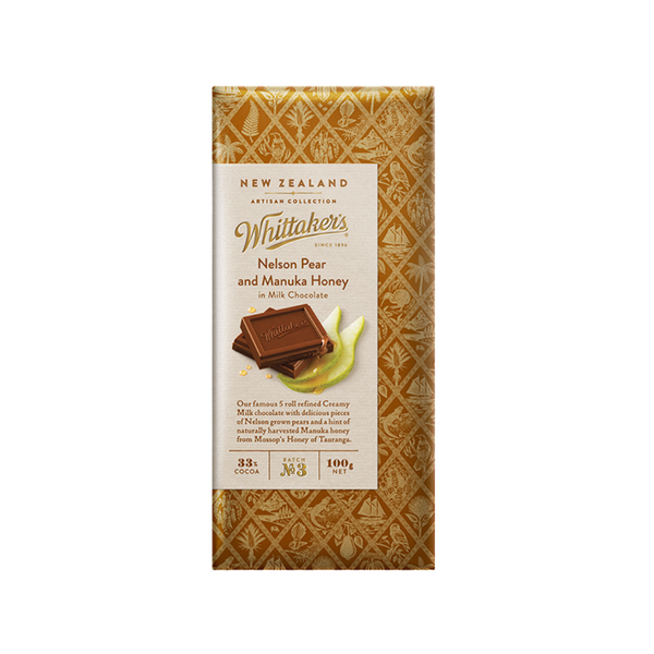 Whittaker's Nelson Pear and Manuka Honey 33% Cocoa Milk Chocolate