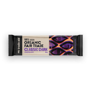 55% organic fair trade classic dark chocolate 50g