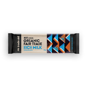 40% cocoa organic fair trade milk chocolate 50g