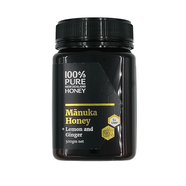 100% Pure New Zealand UMF 5+ Manuka Honey with Lemon and Ginger