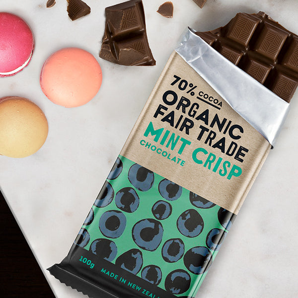 Fair Trade Organic 70% Cocoa Mint Crisp Chocolate