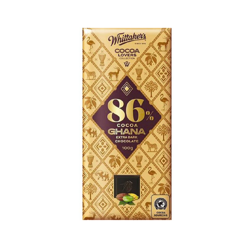 Whittaker's Cocoa Lovers Collection - 86% Cocoa Ghana Extra Dark Chocolate