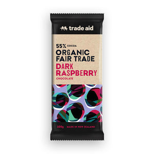 55% organic fair trade classic dark raspberry chocolate 50g