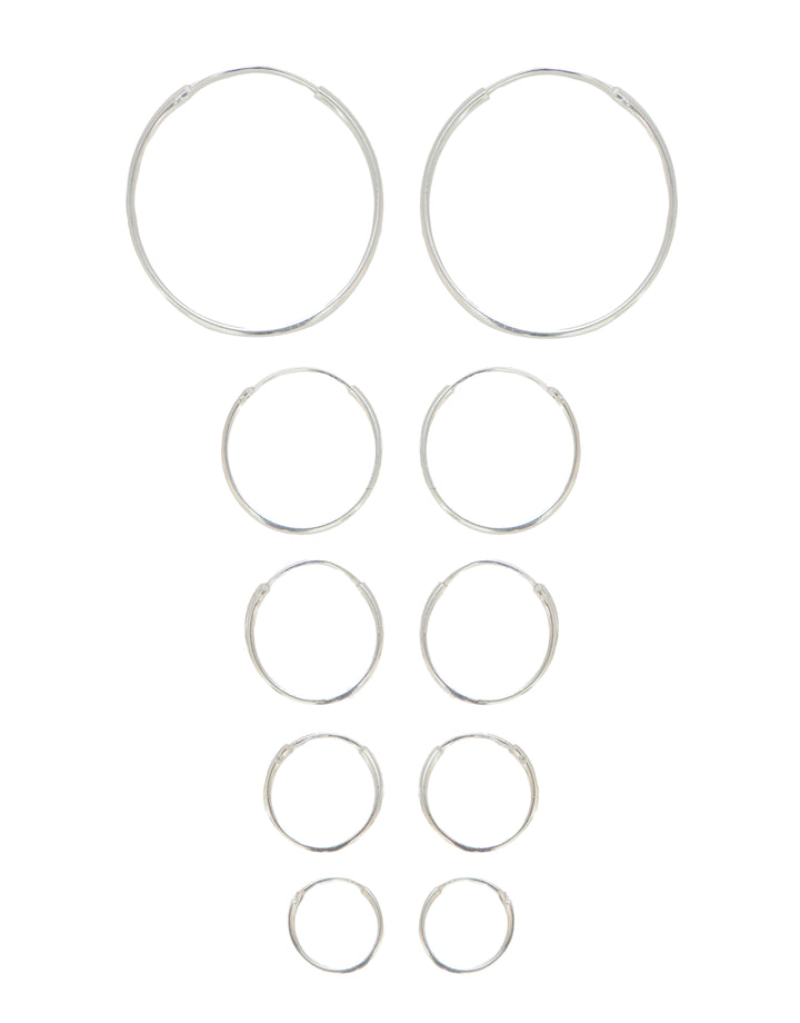 1mm Hoops - Sterling Silver