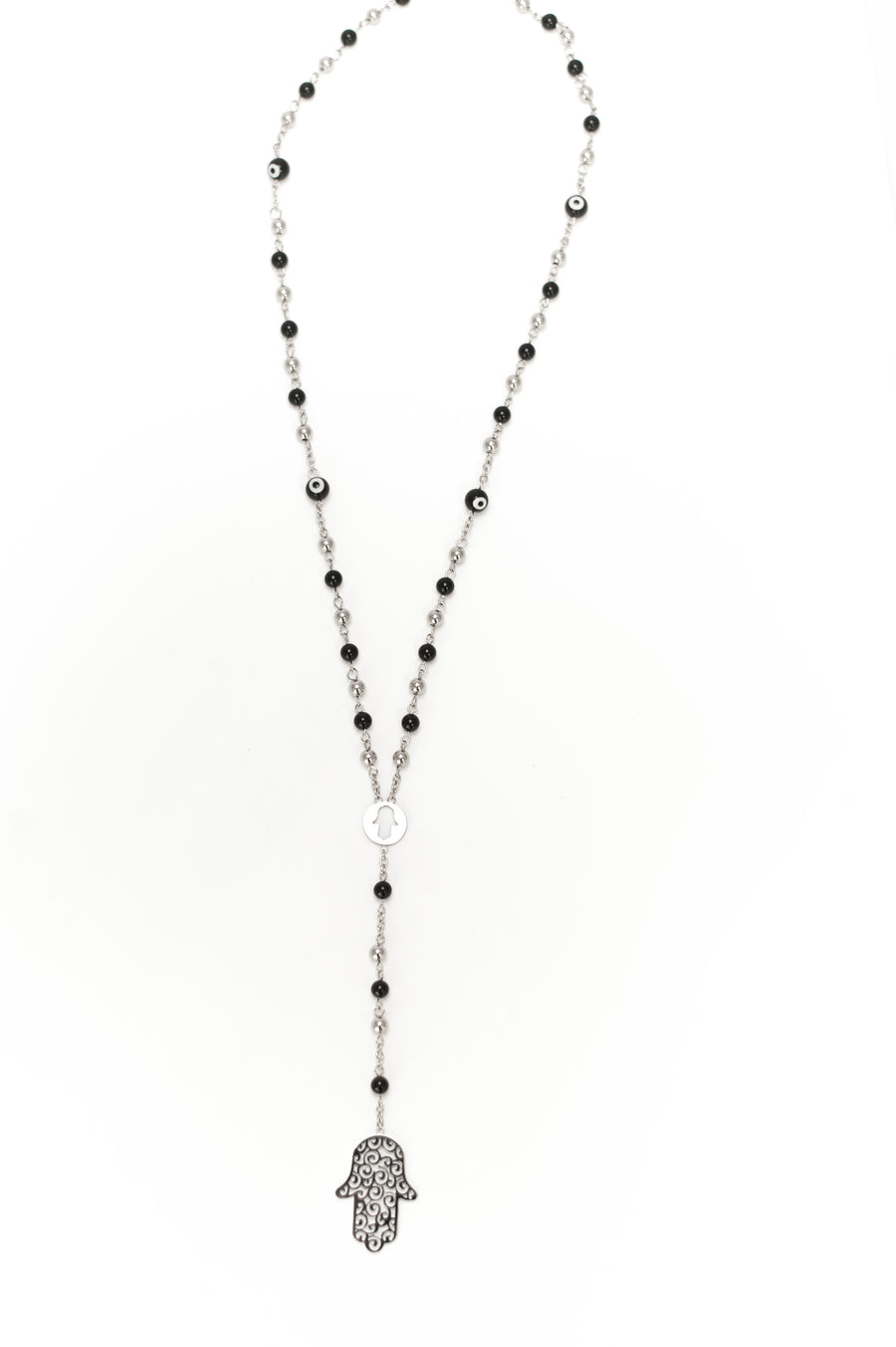 Beaded Hamsa Necklace - Stainless Steel