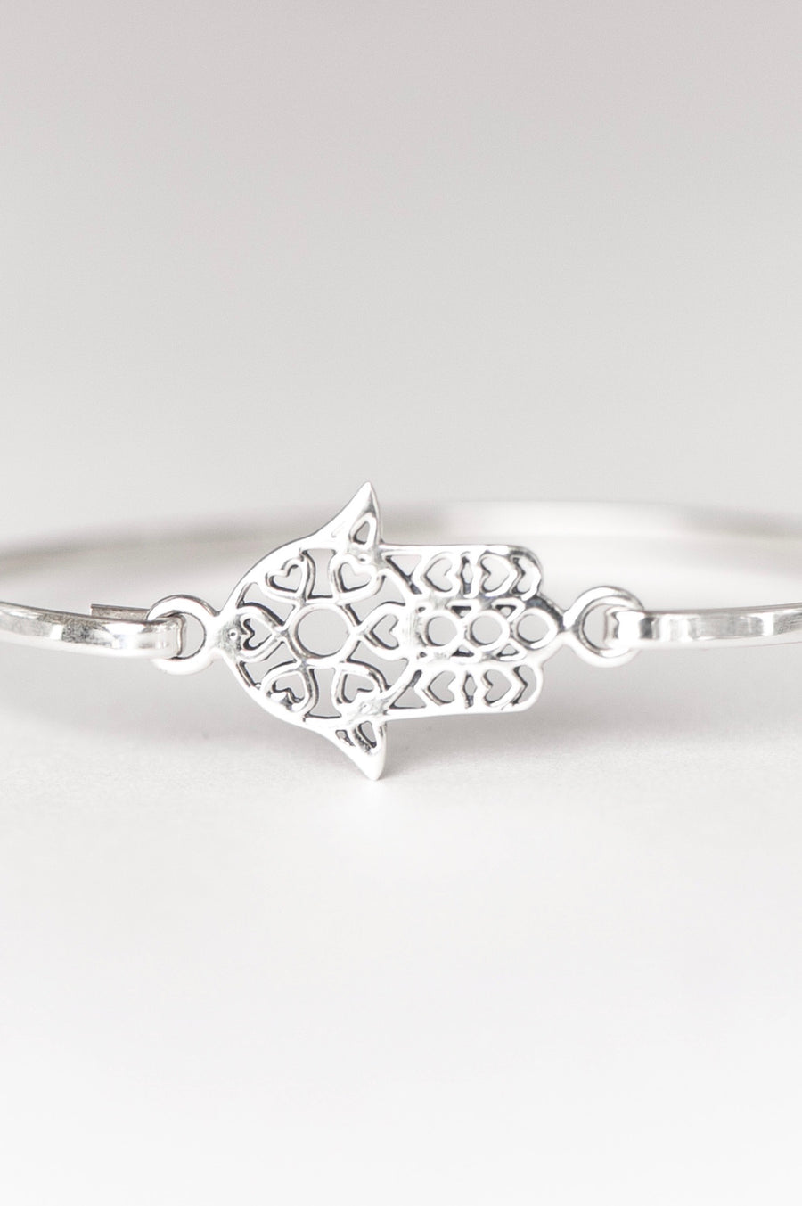 Hamsa Bangle - Sterling Silver