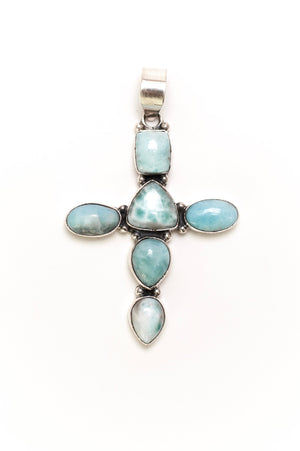 Larimar Cross Pendant - Sterling Silver