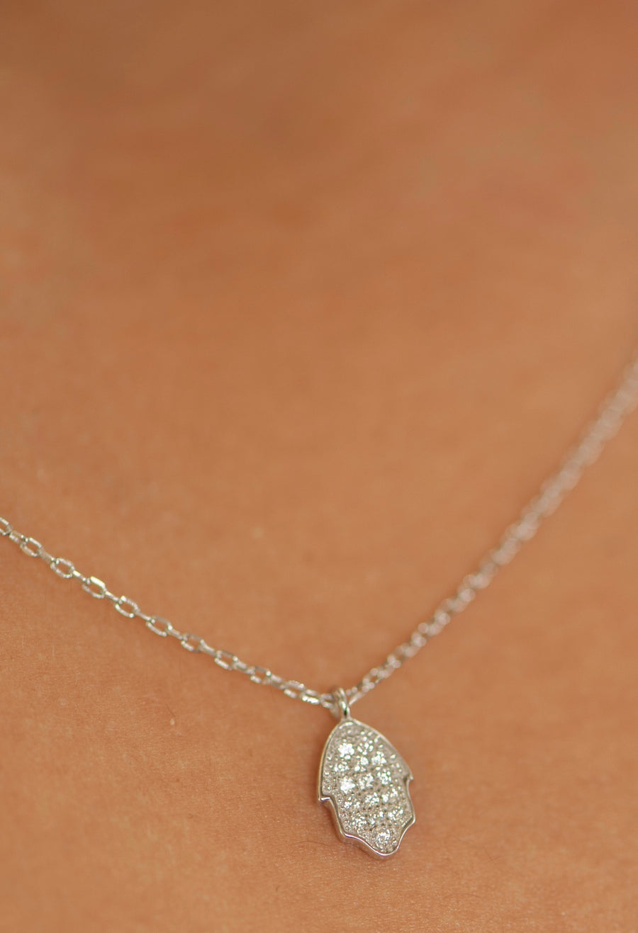 Mini Hamsa Necklace - Sterling Silver