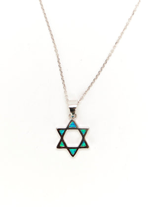 Opal Star of David Necklace - Sterling Silver