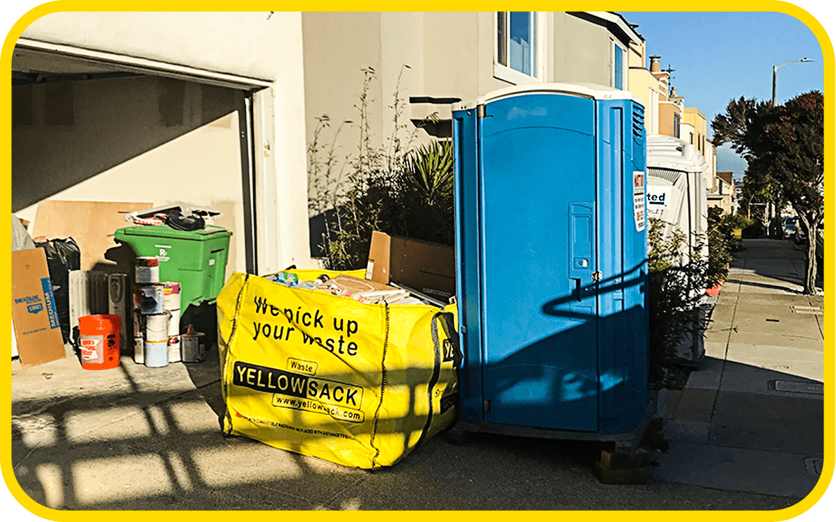 Yellowsack dumpster bag san francisco san jose hayward berkeley richmond bay area junk construction debris waste hauling