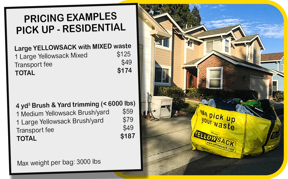 Yellowsack dumpster bags residential pricing great value service san francisco san jose hayward oakland junk removal