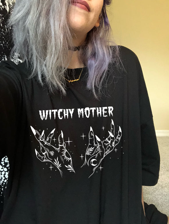 Witchy Mother - Oversized Shirt - Black