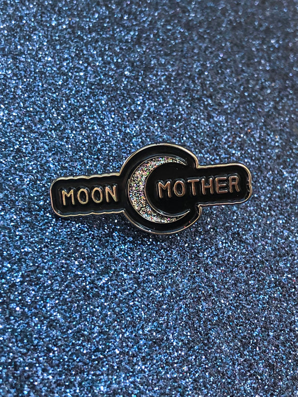 Moon Mother Enamel Pin with moon graphic