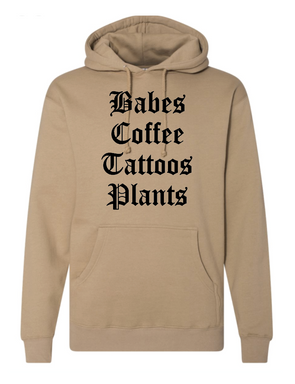 Babes Coffee Tattoos Plants - Unisex Hoodie
