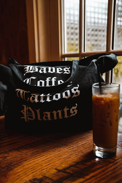Babes Coffee Tattoos Plants Tote Bag