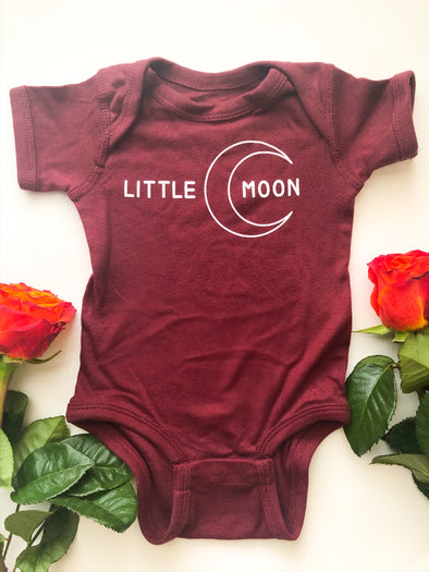 little moon onesie with moon graphic