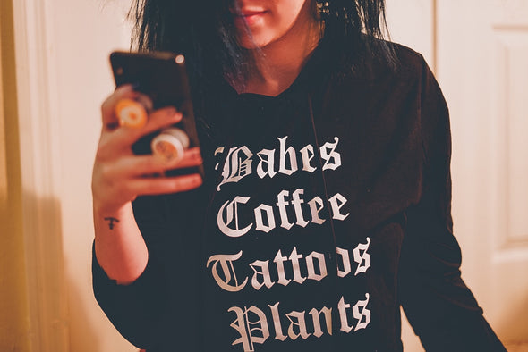 Babes Coffee Tattoos Plants - Cropped Hoodie