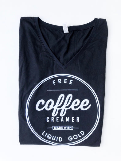 coffee creamer breast feeding tee v neck