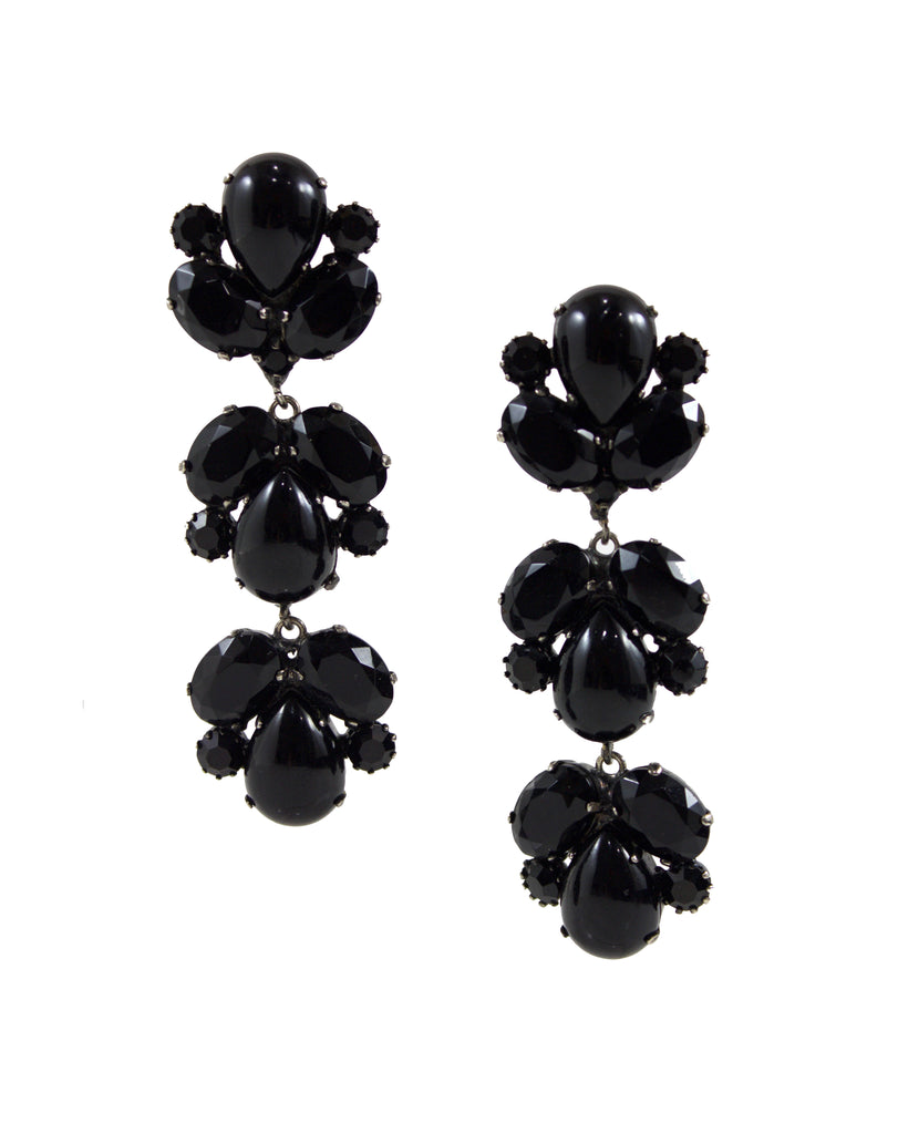 1950'S BLACK ITALIAN EARRINGS