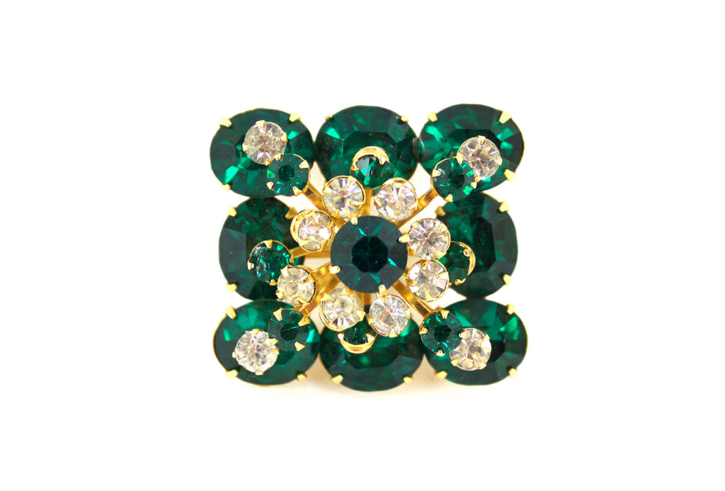 1950s Coro Green Square Brooch