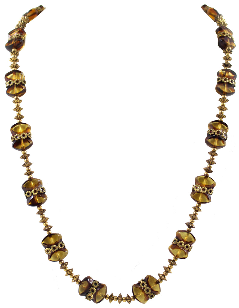 1950S AMBER & GOLD NECKLACE
