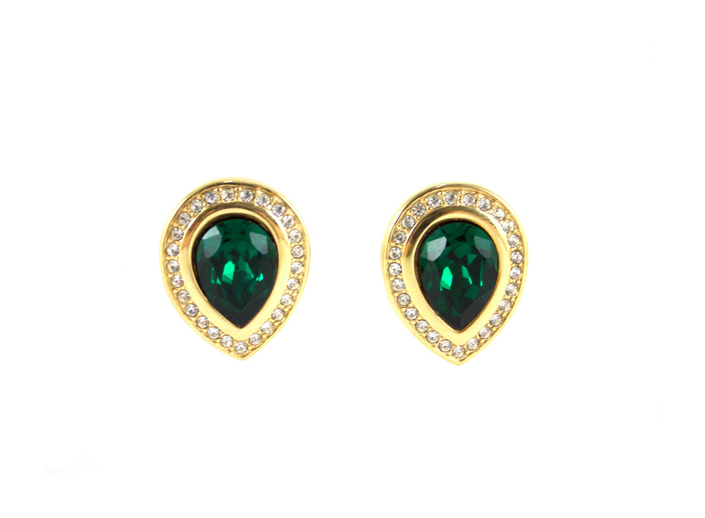 1980's S.A.L. Green Teardrop Earrings