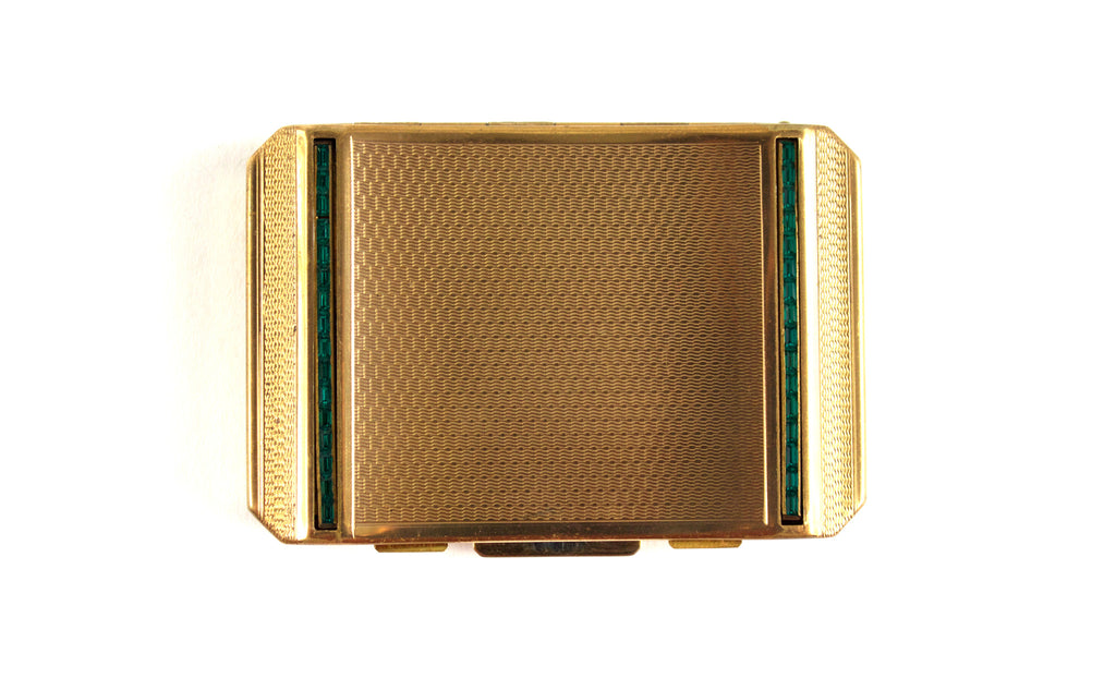 1950's Stratton Gold and Green Compact