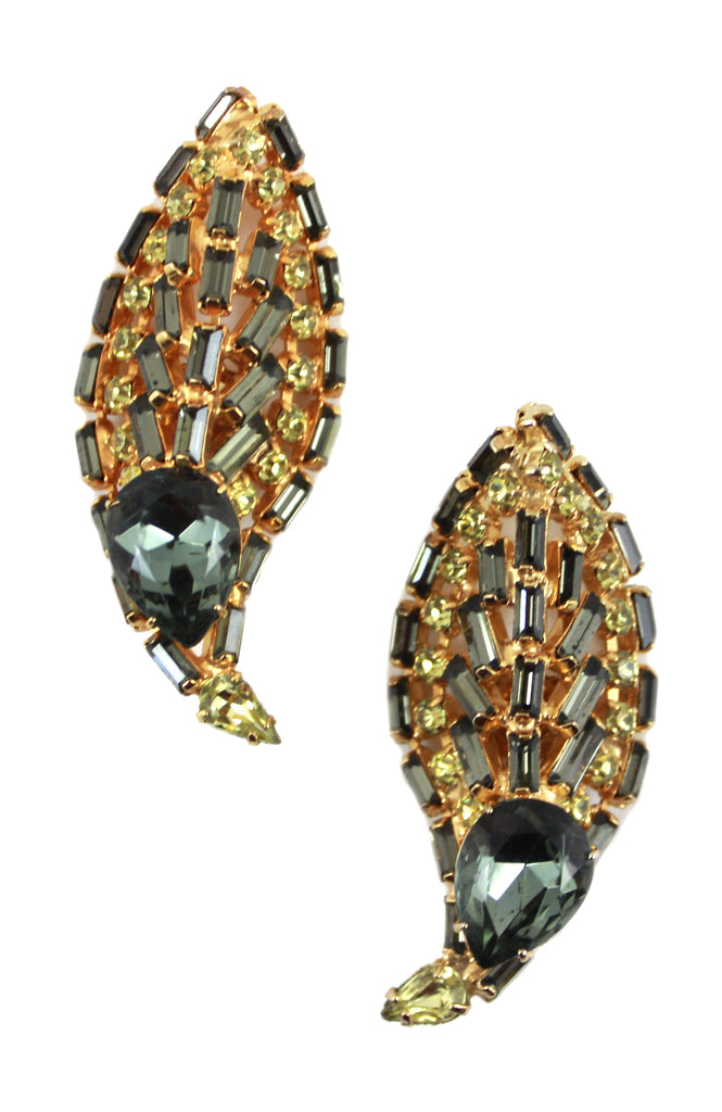 CITRINE & SMOKE COLORED LEAF EARRINGS