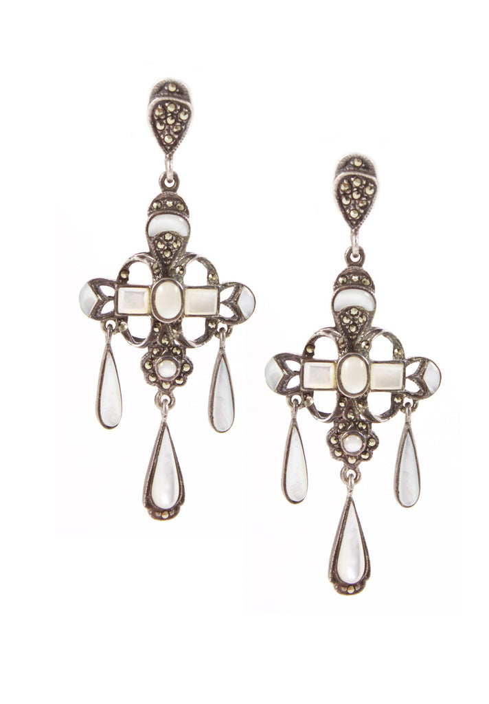 Marcasite and Mother of Pearl Earrings