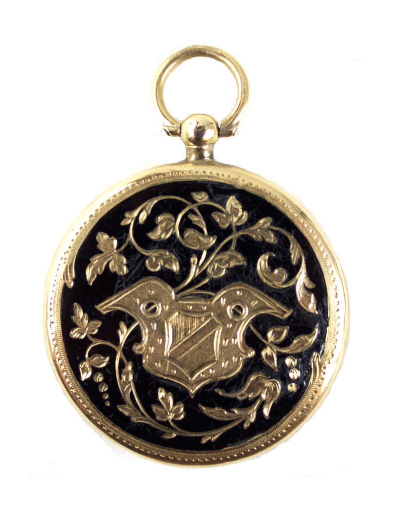 1930S GOLD & BLACK ENAMEL LOCKET