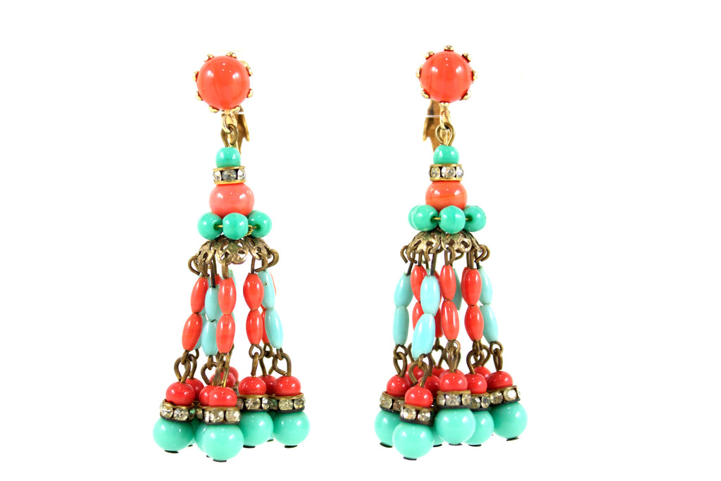 1960s Hattie Carnegie coral and turquoise fringe earrings