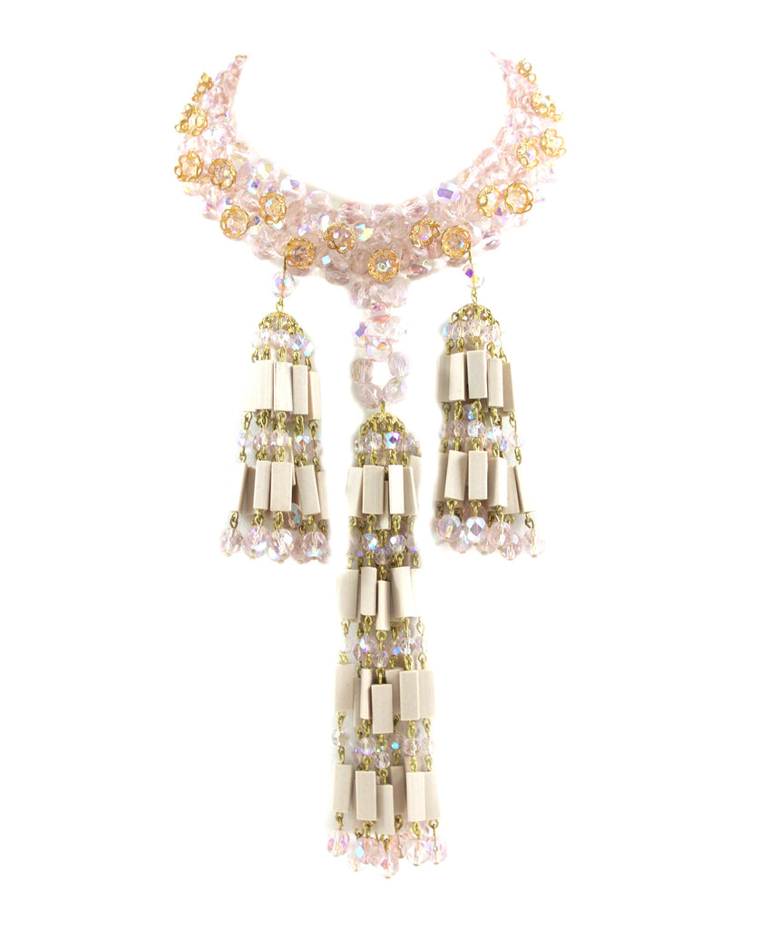 PINK BEADED TASSEL NECKLACE